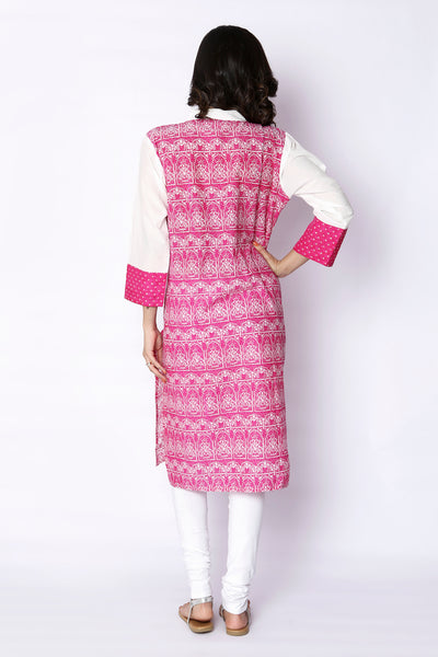 Pink Hand Block Printed Cotton Kurti - GleamBerry