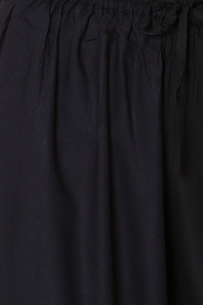 Black Rayon Elasticated Palazzo - GleamBerry