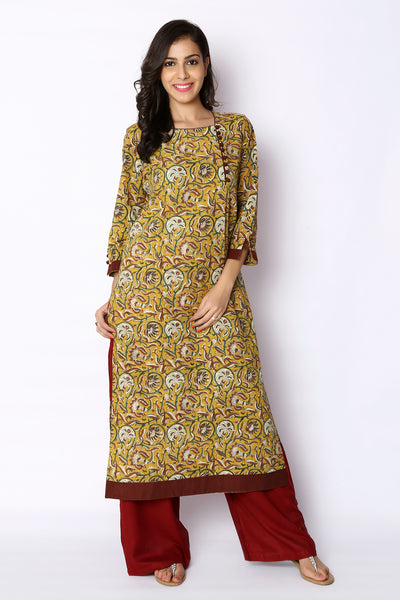 Multicolour Bagru Hand Block Print Awadh Neck Cotton Kurti - GleamBerry