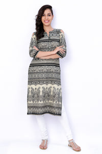 Black And White Cotton Off Shoulder Long Kurti - GleamBerry