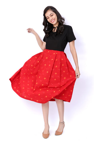 Red And Black Bandhani Cotton Dress - GleamBerry