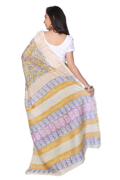 Multicolour Sanganer Hand Block Print Chanderi Saree - GleamBerry