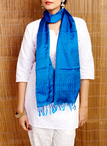 Blue Handloom Pure Silk Stole - GleamBerry