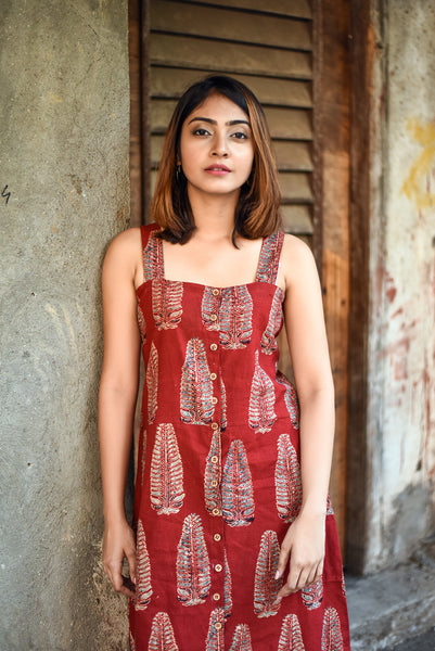 Maroon Ajrakh Print Cotton Buttoned Down Dress - GleamBerry