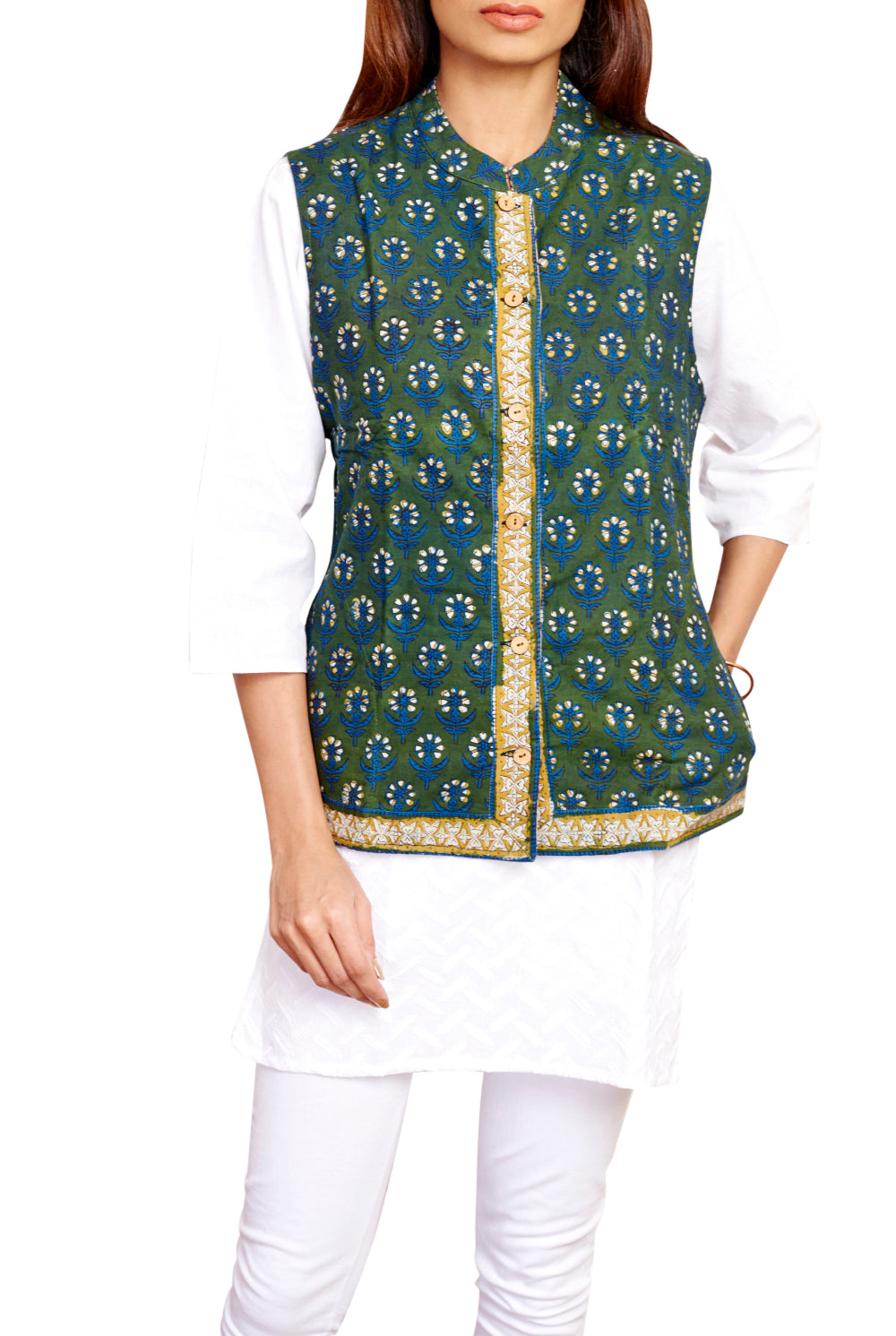 Fern Green and Canvas Cream Rajasthani block Print Handloom Reversible Jacket - GleamBerry