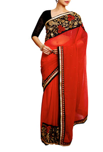 Pigment Red Embellished Embroidered Saree - GleamBerry