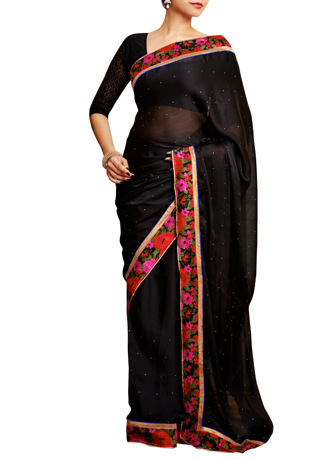 Egyptian Black Star Plus Chiffon Printed Saree - GleamBerry