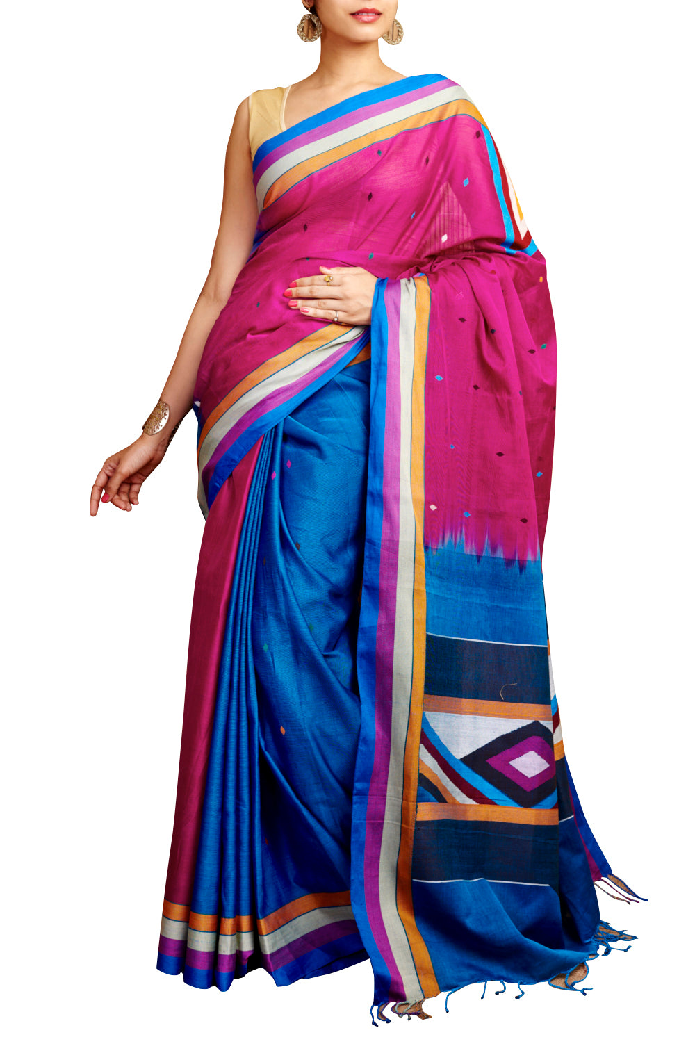 Pink Cotton Saree - GleamBerry