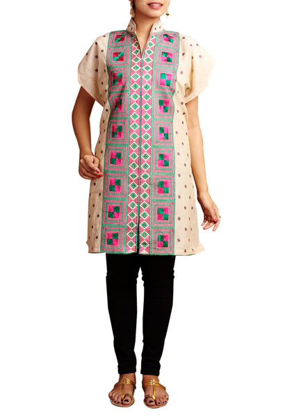White Phulkari Embroidered Cotton Kurti - GleamBerry