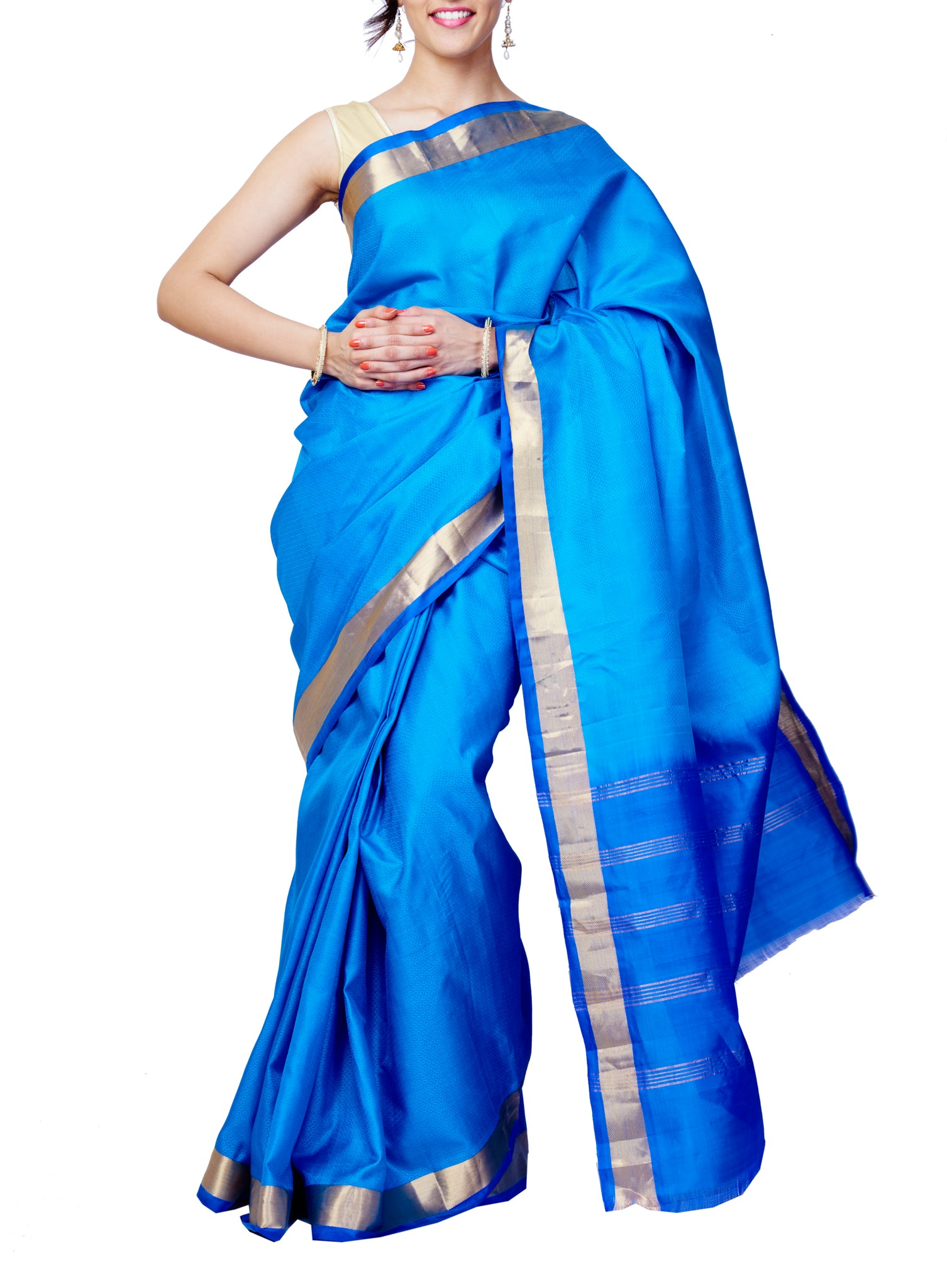 Blue Kanchipuram Pure Silk Handloom Saree - GleamBerry