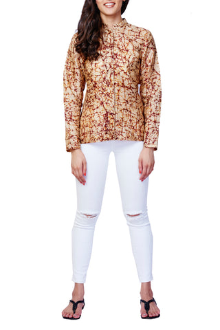 Beige Batik Print Pure Silk Top - GleamBerry
