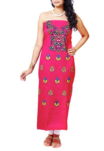 Fuchsia Cotton With Hand Embroidered Kurti Unstitched Material - GleamBerry