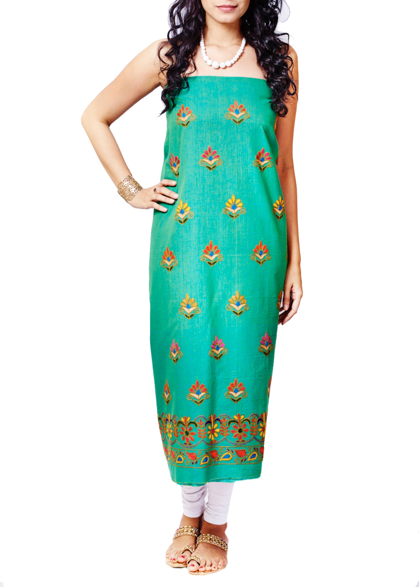 Emerald Green Cotton Hand Embroidered Unstitched Kurti Material - GleamBerry