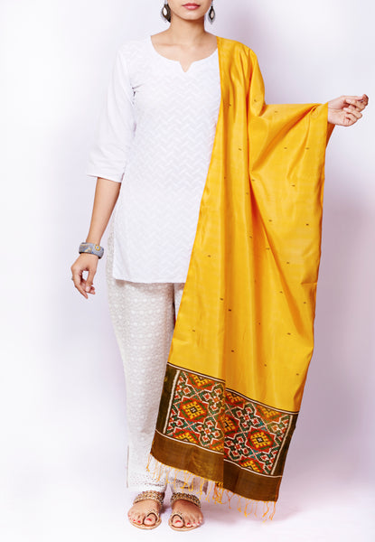 Yellow Pure Silk Handloom Ikat Patola Dupatta - GleamBerry