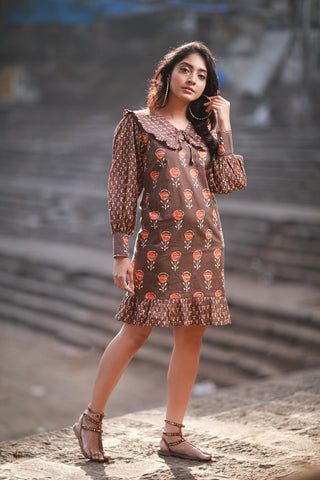 Block Print Frill Dress