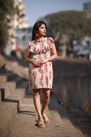 Block Printed Ruffle Dress