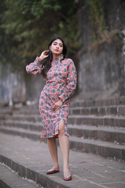 Block Printed  Fitted Dress