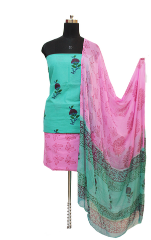 Multicolour (Turquoise And Pink) Block Print Cotton Dress Material Set