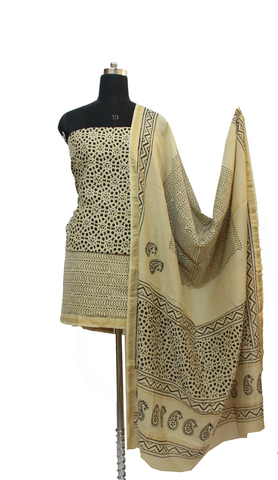 Beige Block Print Pure Cotton Dress Material Set With Georgette Dupatta - GleamBerry