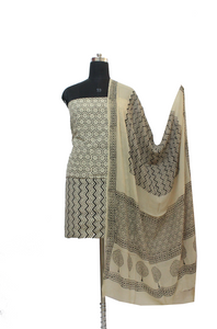 Beige Block Print Cotton Dress Material Set