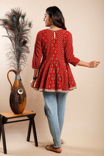 Maroon Ajrakh Panel Tunic