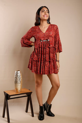 Kalamkari Frill Tunic Dress
