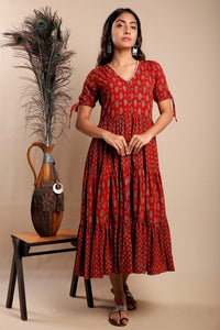 Maroon Ajrakh Layered Dress