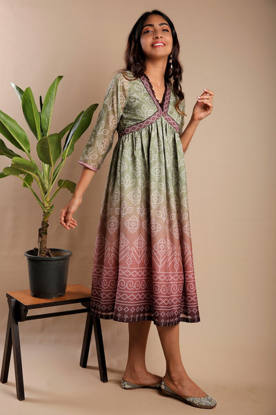 Green and Brown Bandhani Kurti