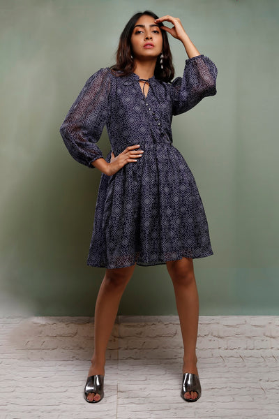 Blue Bandhani Wrap Dress