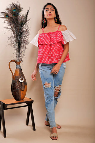 Ikkat Off Shoulder Top