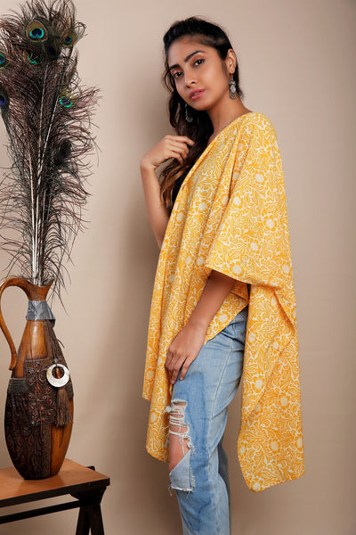 Yellow Block Print Cotton Stole
