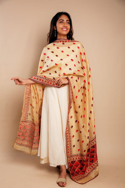 Multicolour Hand Embroidered Resham Phulkari Chanderi Dupatta