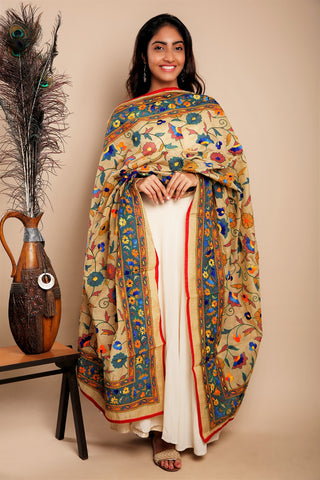 Multicolour Full Jaal Hand Embroidered Chanderi Dupatta