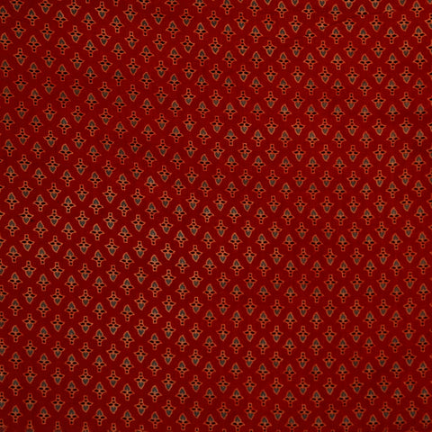 Maroon Ajrakh Butti Cotton Fabric