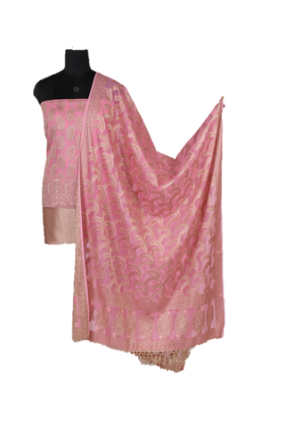 Baby Pink Banarasi Unstitched Dress Material Set - GleamBerry