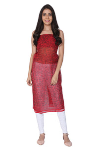 Red Kota Silk Kurti - GleamBerry