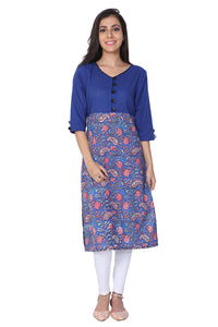 Blue Sanganeri Hand Block Print Cotton Kurti - GleamBerry