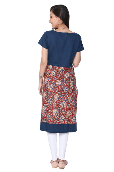 Blue Bagru Hand Block Cotton Kurti - GleamBerry