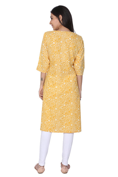 Yellow Hand Block Print Cotton Kurti - GleamBerry