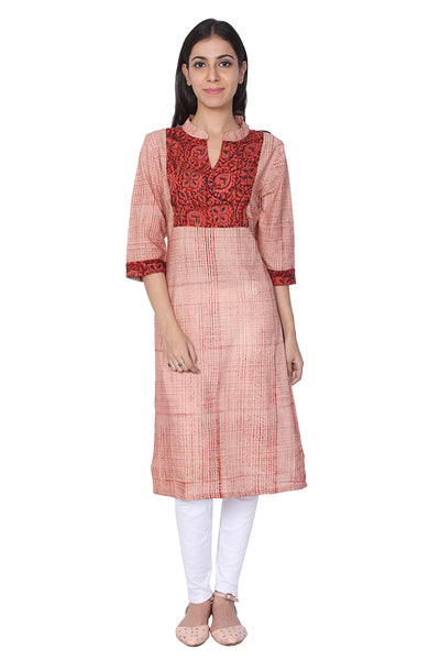 Red Brush Hand Block Print Cotton Kurti - GleamBerry