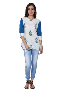 Blue Hand Block Print Cotton Tunic