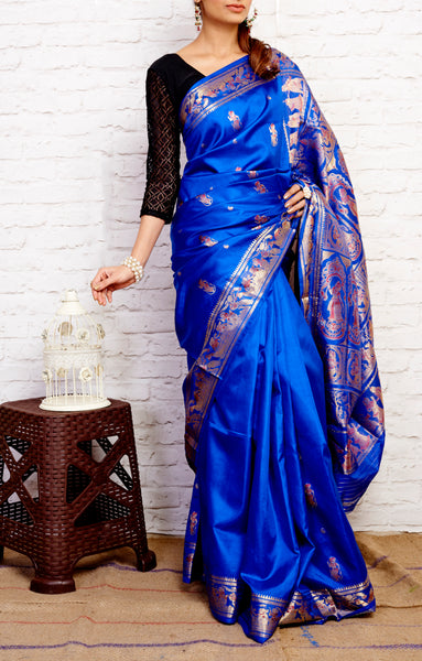 Medium Blue Baluchari (Meenakari) Handloom Bishnupuri Silk Saree - GleamBerry