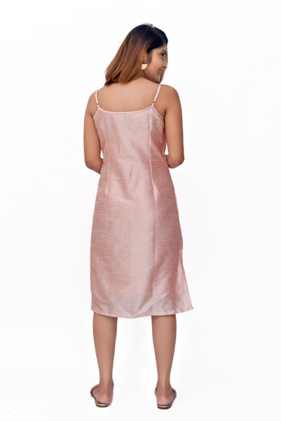Pink Banarasi Slip Dress - GleamBerry