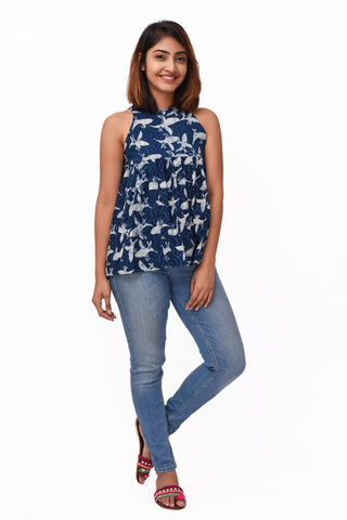 Indigo Bird Block Print Cotton Top - GleamBerry