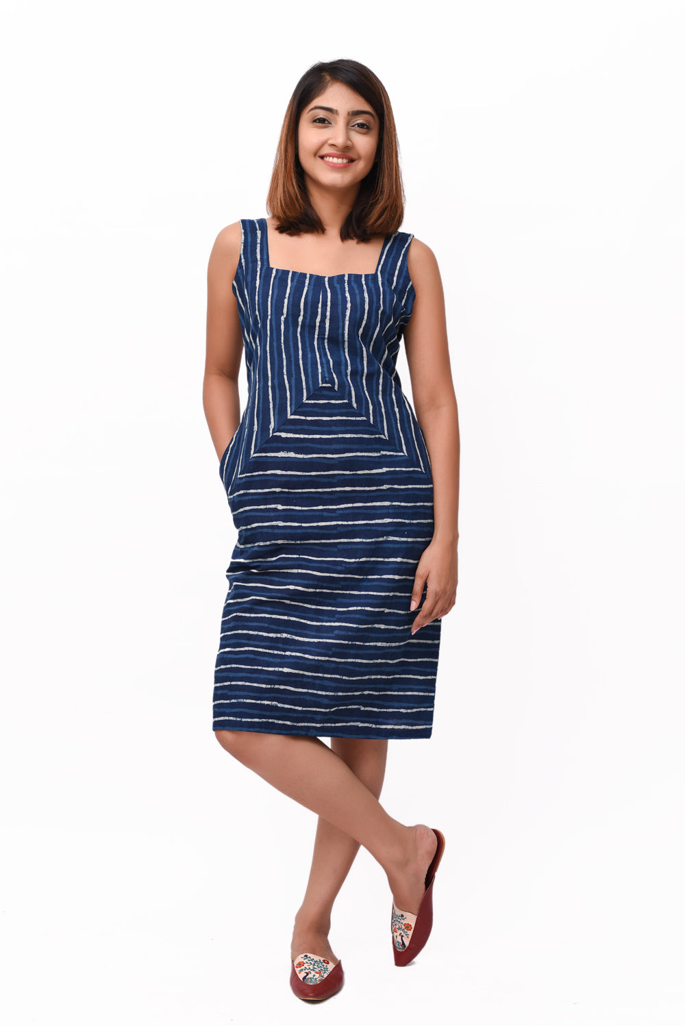 Blue Block Print Stripe Cotton Dress - GleamBerry