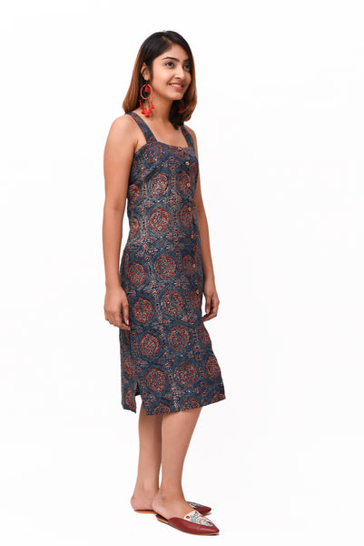 Blue Ajrakh Print Cotton Buttoned Down Dress - GleamBerry