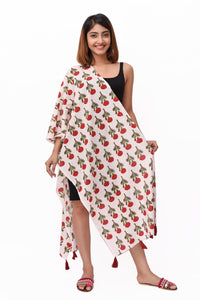 Red Marigold Block Print Cotton Stole - GleamBerry