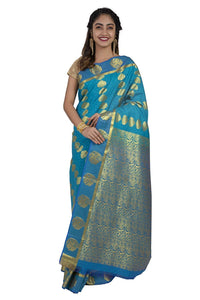 Blue Kanjeevaram Silk Saree - GleamBerry