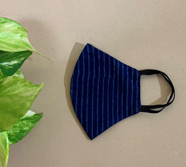 Blue Stripe Cotton Printed Mask