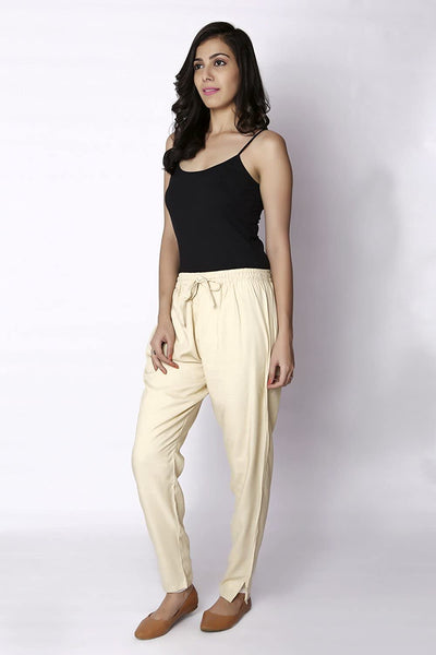 Cream Plain Rayon Elasticated Pant - GleamBerry